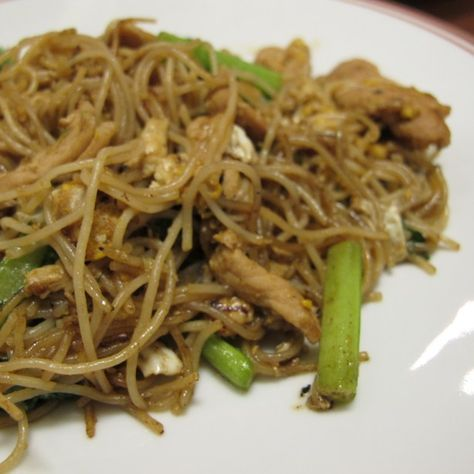 Stir Fried Thin Rice Noodle With Choy Sum Recipe Phad Bee Htun