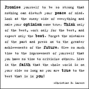 inspired living  - Promise yourself to be... -Christian D. Larsen