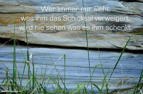 Mein Papa sagt... Wer immer nur sieht, was ihm das Schicksal verweigert, wird nie sehen was es ihm schenkt. #weisheit #Zitate #deutsch #quotes     Weisheiten & Zitate TÄGLICH NEU auf www.MeinPapasagt.de