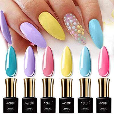 Azurebeauty Gel Nail Polish Set 6pcs Sweet Candy Neon Colors