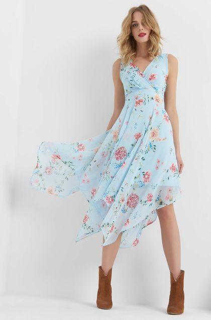 Kvetovane Saty S Asymetrickou Suknou Modra Dresses High Low Dress Clothes