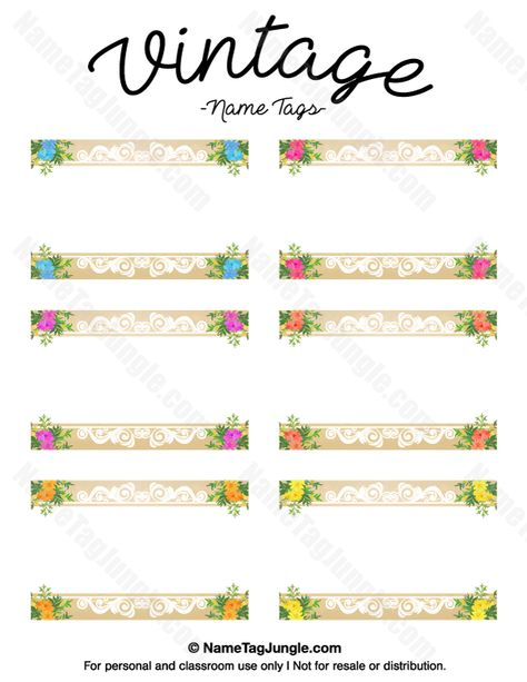 Free Printable Vintage Name Tags The Template Can Also Be Used For Creating Items Like Labels And Place Cards Downloa Vintage Names Name Tags Label Templates