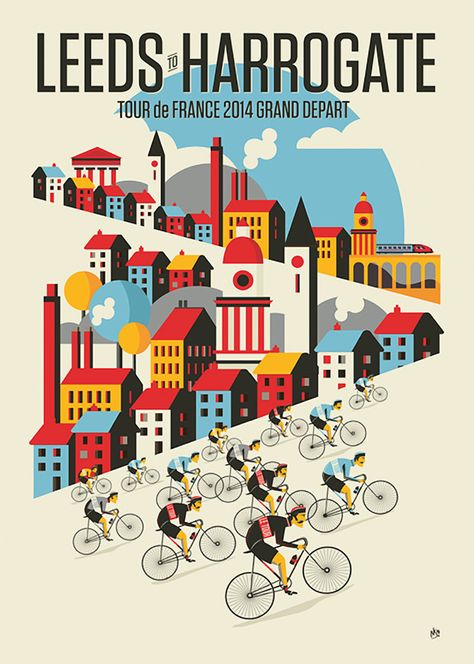 As always a great poster. Celebrating Tour de France visiting the UK. For sale here: http://crayonfireshop.bigcartel.com/