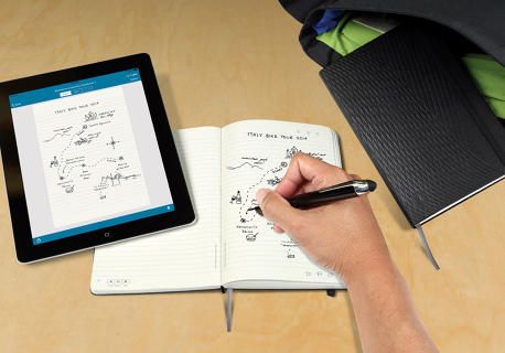 This New Moleskine Is Like An iPad Made Of Paper. When you write on it with a $150 Livescribe smartpen (a pen known for turning written, paper notes into typed, digital transcripts), your doodles and brainstorms are not only automatically backed up to an app, they're also infused with the conveniences of digital-native technologies. #innovation #moleskine