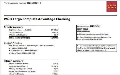 Wells Fargo Bank Statement Template Free Download With Images