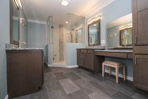 Dark Gray Tiled Bathroom Floor And