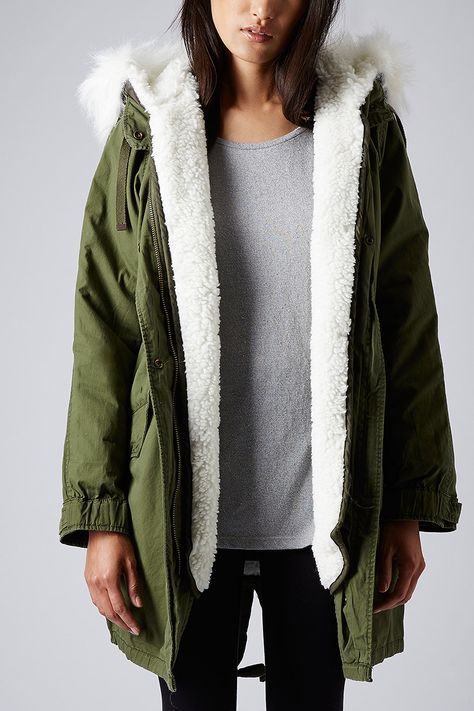 Borg Lined Parka Jacket | '14 | Pinterest | Topshop parka and Topshop