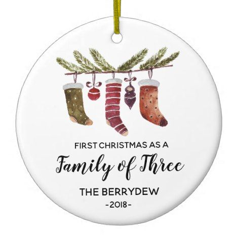 First Christmas As A Family Of Three Ornament Zazzle Com Baby Christmas Gifts Family Christmas Gifts First Christmas Ornament