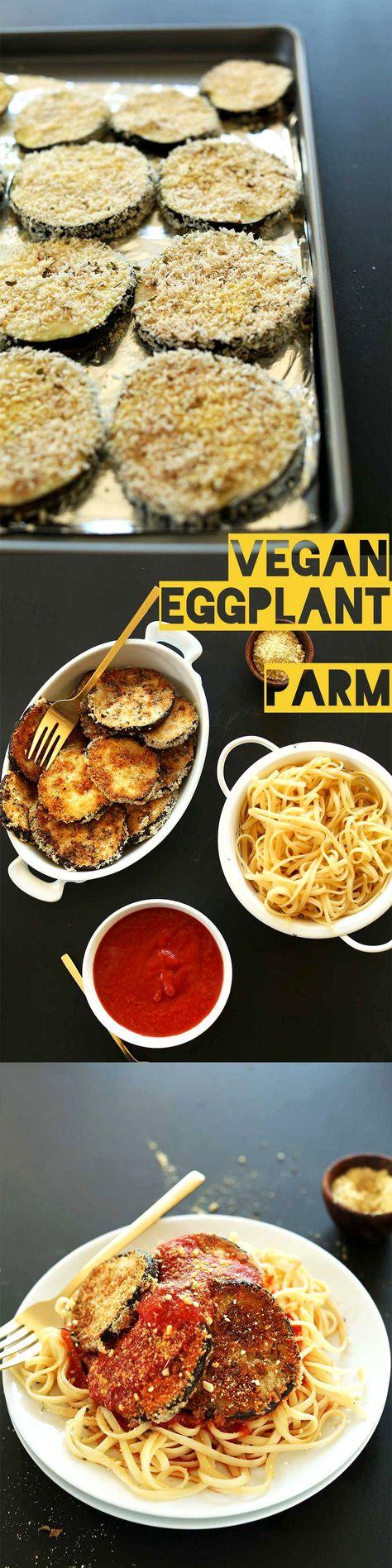 AMAZING, 10 -ingredient Vegan Eggplant Parmesan! You'd never guess the egg went missing. #vegan #healthy
