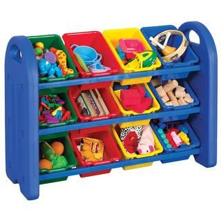 Ecr4kids 3 Tier Storage Organizer Blue With 12 Assorted Color Bins Model Elr 0216 Elr 0217 With Images Toy Storage Organization