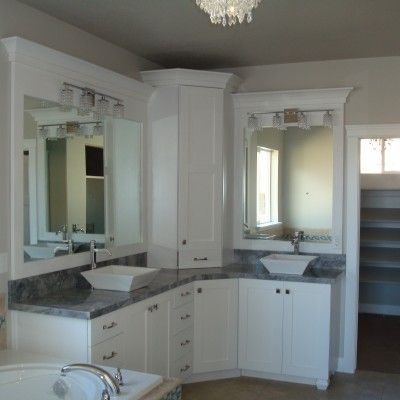corner double sink vanity. White bathroom  double sinks vanity corner white cabinets gray granite square CF Olsen Designs Bathroom Pinterest