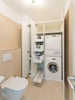 Ideen Fur Die Waschkuche Waschmaschine Und Trockner Ubereinander Gestapelt Im Einbauschrank Einbauschrank Waschkuchen Schranke Waschkuchenorganisation