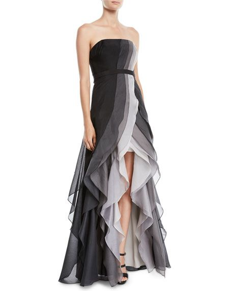48224e9d20 Halston Strapless Ombré Tiered Ruffle Gown in 2019 | Formal Dresses ...