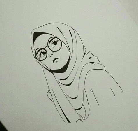 Gambar Kartun Wanita Muslimah Sedih 150 Gambar Kartun Muslimah Berkacamata Cantik Sedih Terlengkap Sketsa Menggambar Wajah Cara Menggambar