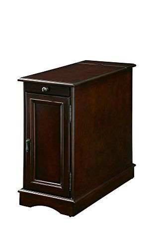 Fa Furnishing Bourchier 12 Inch Wide Chair Side Table With Usb In Cherry Wood End Tables Chair Side Table End Tables With Storage