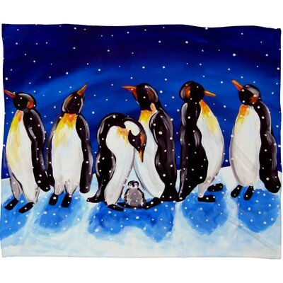 The Holiday Aisle Faustine Penguin Party Plush Fleece Throw Penguin Party Penguins Snow Fun