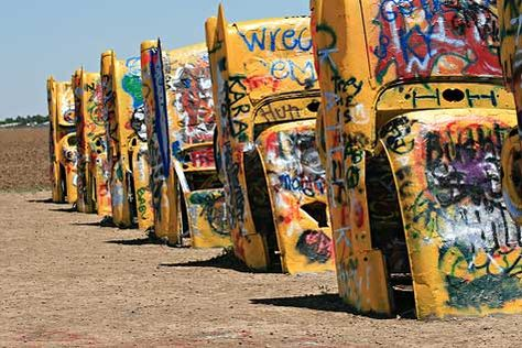 Cadillac Ranch shortly after they were all painted yellow for Lance Armstrong