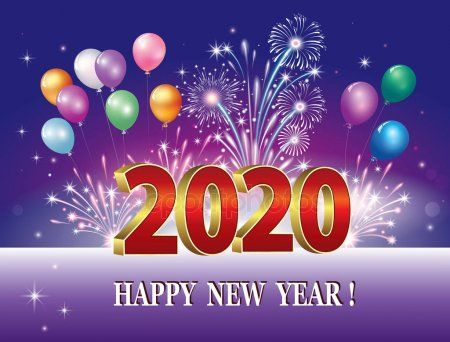Happy New Year 2020 Greeting Card With The Date On Background With Fireworks An Spon Happy New Year Images Happy New Year Greetings Happy New Year Message