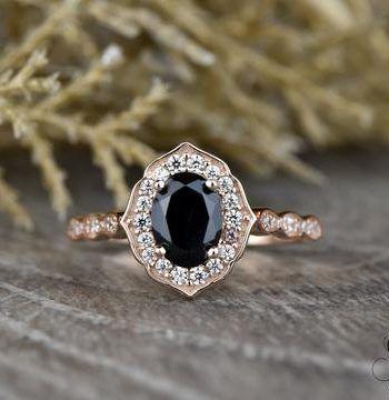 For Sale Vintage Floral Oval Black Spinel Engagement Ring In Bridal Diamond Ring Gemstone Engagement Rings Black Spinel Ring