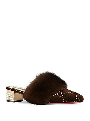 43d06d8e7 Gucci Candy Mink Trim Mules | Good Stuff | Gucci, Gucci shoes, Mink