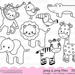 Wild Animals Outline Coloring Svg Dxf Clipart Safari Animal Etsy In 2021 Digital Stamps Safari Animals Animal Outline