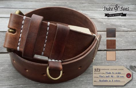 Handmade leather Belt by DukeAndSonsLeather on Etsy https