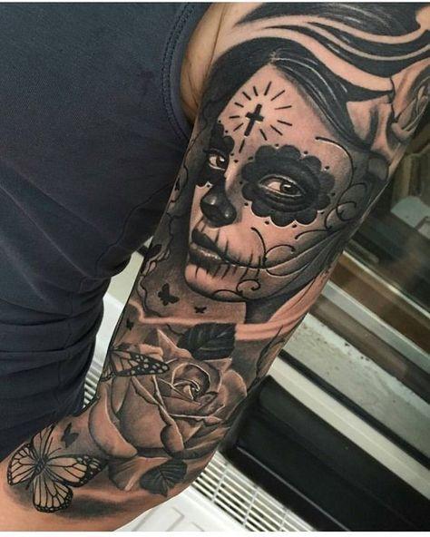 15 Tatuajes de catrinas con rosas