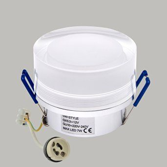 8 € Feuchtraum IP44 Spot Einbauleuchte mit Brandschutz pures Aluminium Acryl Einbau Strahler 230V GU10 Set Decken Lampe IP44-911426034287346 Alu nur LED