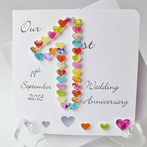 Congratulation on Your 1st Wedding Anniversary// Handmade personalised card