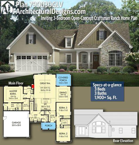 Plan 790030glv Inviting 3 Bedroom Open Concept Craftsman Ranch Home Plan Craftsman House Plans Ranch House Plans Architectural Design House Plans