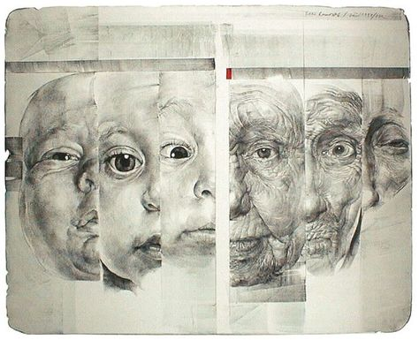 Oldrich Kulhanek. I'm very interested in the juxtaposition of different ages here, since ageism is one of the problems I'm dealing with. What's really intriguing is that all of these faces seem to be elderly or infants, which are the two most often discriminated against groups.