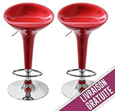 Color Rojo y Cromo ts-ideen Taburete de Bar con resposapi/és