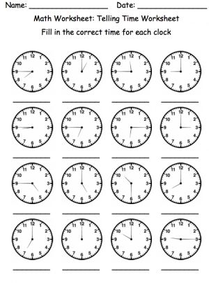 Telling Time Activity  Telling Time Worksheets And Math