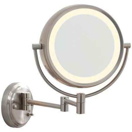 Conair Satin Nickel Wall Mount Mirror Walmart Com Wall Mounted Lighted Makeup Mirror Wall Mounted Mirror Wall Mounted Light
