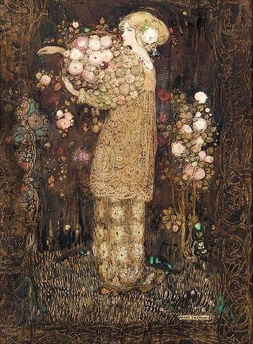 the briar maiden, by annie french The flowers and style remind me of Klimt! Art And Illustration, Fantasy Kunst, Fantasy Art, Art Amour, 3d Art, Inspiration Art, Alphonse Mucha, Caravaggio, Andy Warhol