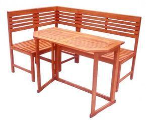 Table pliante de jardin avec banc d\'angle bois d\'eucalyptus ...