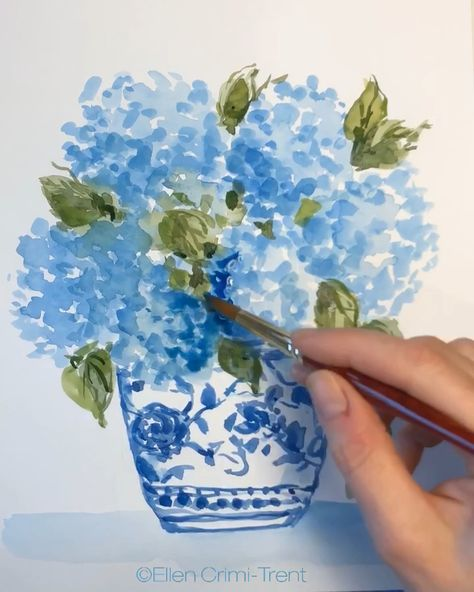 Fun watercolor painting video #watercolor #chinoiserie #hydrangea #blueflowers