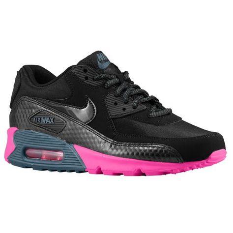 Womens Nike Air Max 90 Black Black Dark Armory Blue Pink