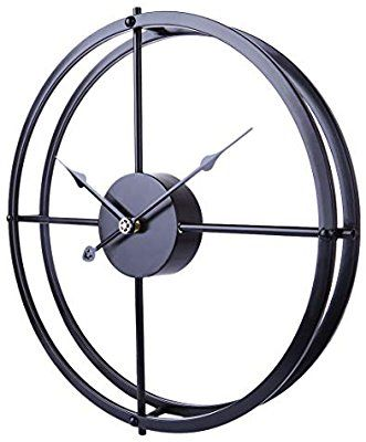 Amazon Com Ruiyif 24 Inch Silent Wall Clock Non Ticking Battery Operated Oversize Farmhouse Rustic Metal Vintag Large Decorative Wall Clock Metal Clock Clock
