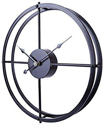 Amazon Com Ruiyif 24 Inch Silent Wall Clock Non Ticking Battery Operated Oversize Farmhouse Rustic Metal Vintag Large Decorative Wall Clock Metal Clock Clock