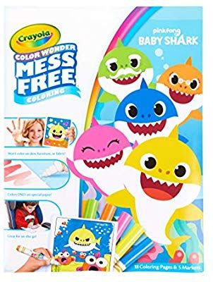 Amazon Com Crayola Baby Shark Coloring Pages Color Wonder Mess Free Coloring Stocking Stuffer Gift For Ki Shark Coloring Pages Color Wonder Gifts For Kids