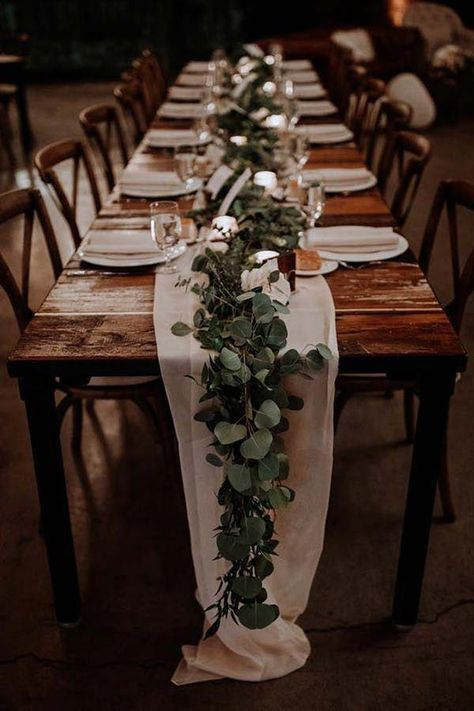 GREENERY RUNNERS 20 Stunning Tablescape Ideas for a Boho Wedding purewow flowers decor wedding weddingdecor weddinginspiration weddingtablescapes bohoweddings bohobrides weddingdecorations weddingtables weddinggreenery springwedding Table Decoration Wedding, Wedding Flower Decorations, Flowers Decoration, Rustic Table Decorations, Outdoor Table Centerpieces, Wedding Decorations Pictures, Romantic Wedding Centerpieces, Wedding Reception Table Decorations, Romantic Candles