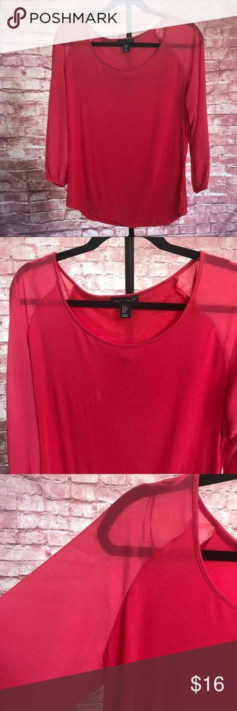 Willi Smith Red long sheer sleeve top Willi Smith Red long sheer sleeve top Willi Smith Tops Blouses