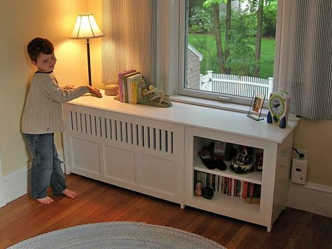 Radiator cover with shelving; would wan less trim and more simple lines