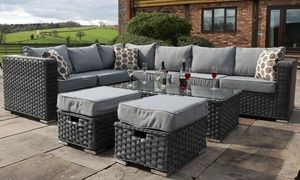 Yakoe Papaver Six Eight Or Nine Seater Rattan Effect Garden Furniture Set With Optional Cover Rattan Patio Furniture Plastic Outdoor Furniture Corner Sofa Set