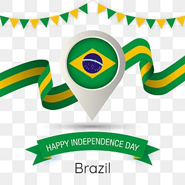 Brazil Independence Day With Stylized Country Flag Pin Illustration Brazilian Independence Day Brazil Happy Independence Day Flag Png And Vector With Transpa Happy Independence Day Independence Day Happy Independence