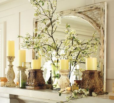 Mantle display with candleholders