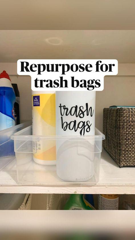 Repurpose for trash bags - trash bag storage ideas - kitchen organization ideas - diy hacks