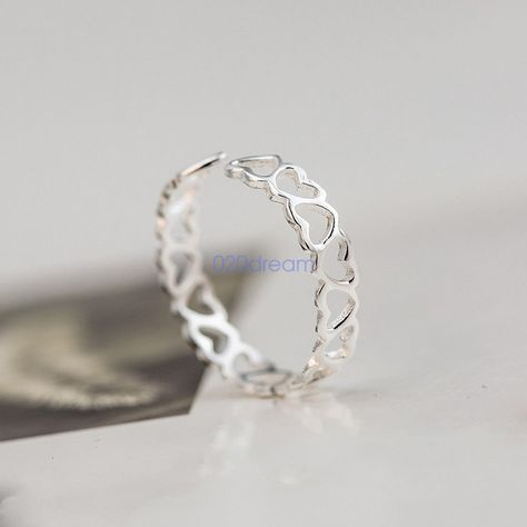 925 Sterling Silver Stacking Love Hearts Band Thumb/Midi Ring Finger Lady Gift #Unbranded #ring