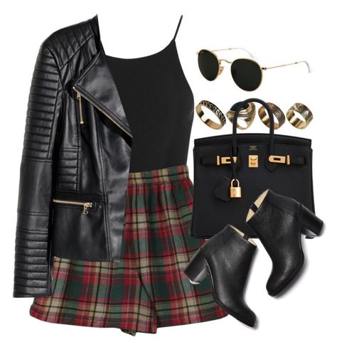 A fashion look from September 2017 featuring Miss Selfridge, leather motorcycle jacket and cotton shorts. Browse and shop related looks. H M Outfits, Classy Outfits, Pretty Outfits, Stylish Outfits, Summer Outfits, Fashion Outfits, Miss Selfridge, Lace Denim Shorts, Anna Dello Russo